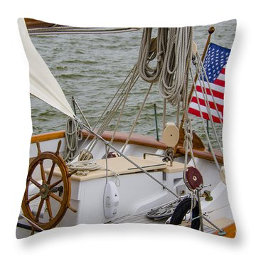 Tall Ship Wheel Throw Pillow by Dale Powell