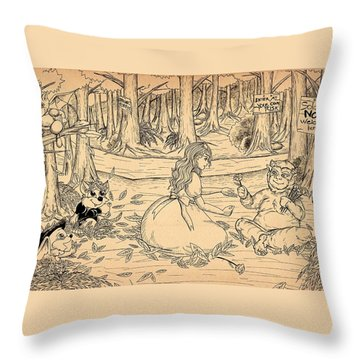 Throw Pillow featuring the drawing Tammy And The Baby Hoargg by Reynold Jay