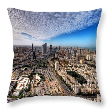 Throw Pillow featuring the photograph Tel Aviv Skyline by Ron Shoshani