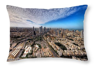 Tel Aviv Skyline Throw Pillow by Ron Shoshani