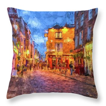 Temple Bar District In Dublin At Night Throw Pillow