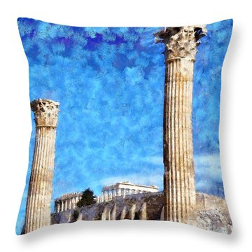 Temple Of Olympian Zeus And Acropolis Throw Pillow by George Atsametakis