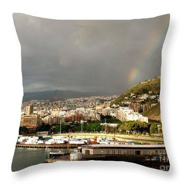 Tenerif Rainbow Throw Pillow
