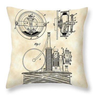 Tesla Electric Circuit Controller Patent 1897 - Vintage Throw Pillow by Stephen Younts
