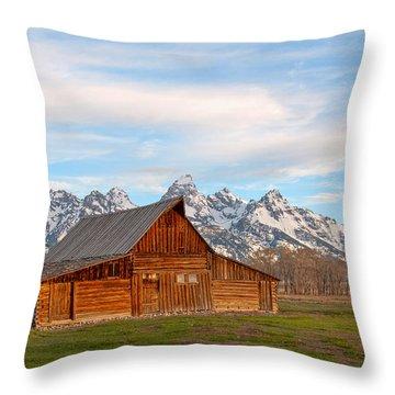 Teton Barn Throw Pillow by Steve Stuller