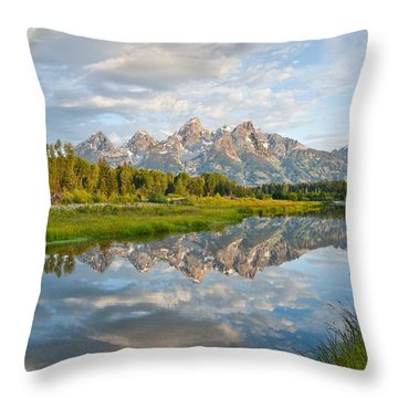 Teton Range Reflected In The Snake River Throw Pillow