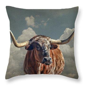 Throw Pillow featuring the photograph Texas Longhorn by Karen Slagle