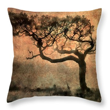 Textured Tree In The Mist Throw Pillow by Ray Pritchard