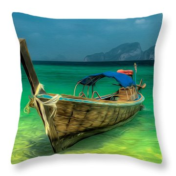 Thai Longboat Throw Pillow by Adrian Evans
