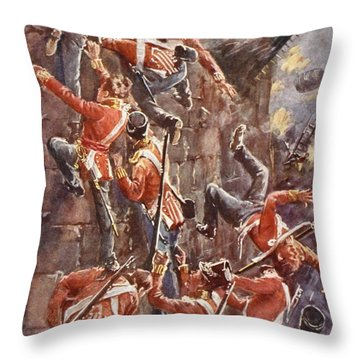 The 5th Division Storming By Escalade Throw Pillow by William Barnes Wollen