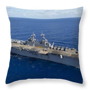 The Amphibious Assault Ship Uss Boxer Throw Pillow by Stocktrek Images