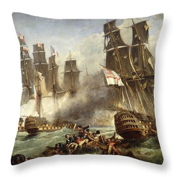 The Battle Of Trafalgar Throw Pillow by English School