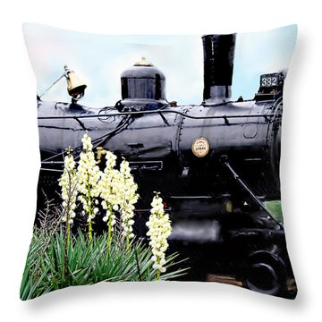 The Black Steam Engine Throw Pillow