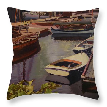 The Canvas Boat Throw Pillow by Thu Nguyen