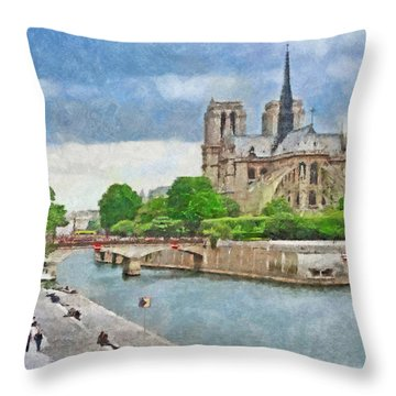The Cathedral Of Notre Dame  Throw Pillow