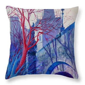Throw Pillow featuring the painting The Charles Bridge Blues by Marina Gnetetsky