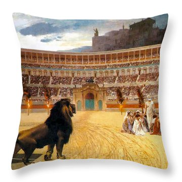 The Christian Martyrs' Last Prayer Throw Pillow by Jean Leon Gerome