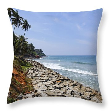 The Coast At Varkala In Kerala India Throw Pillow by Robert Preston