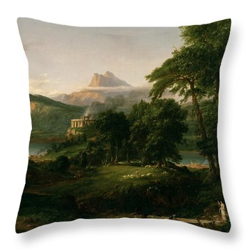The Course Of Empire The Arcadian Or Pastoral State Throw Pillow