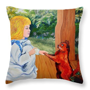Throw Pillow featuring the painting The Dance Lesson by Karon Melillo DeVega