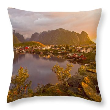 The Day Begins In Reine Throw Pillow