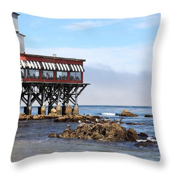 The Fish Hopper Restaurant And Monterey Bay On Monterey Cannery Row California 5d25047 Throw Pillow