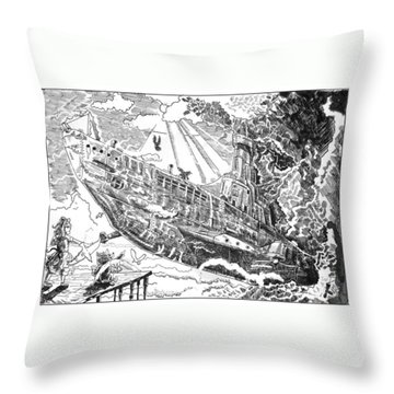Throw Pillow featuring the drawing The Flying Submarine by Reynold Jay