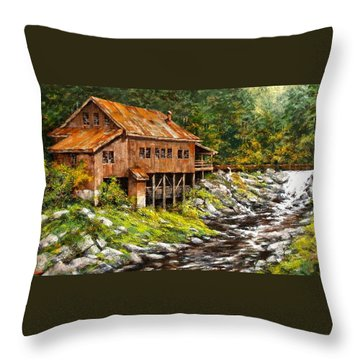 The Grist Mill Throw Pillow by Jim Gola