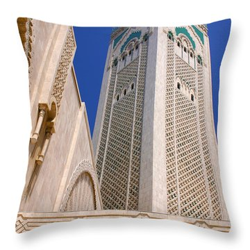 Throw Pillow featuring the photograph The Hassan II Mosque Grand Mosque With The Worlds Tallest 210m Minaret Sour Jdid Casablanca Morocco by Ralph A  Ledergerber-Photography