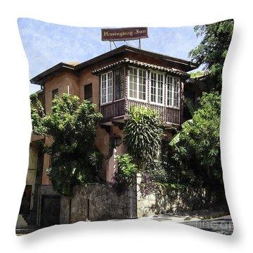 The Hemmingway Inn Throw Pillow by Lynn Palmer
