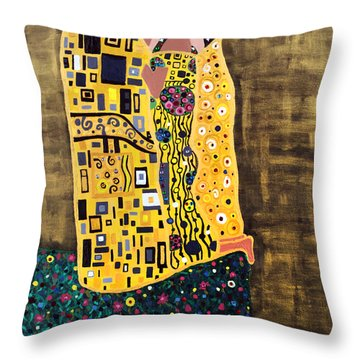 The Kiss Throw Pillow by Angelina Vick
