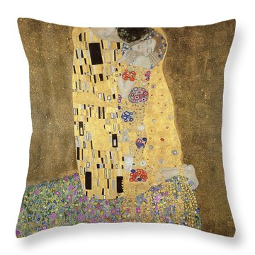 Throw Pillow featuring the painting The Kiss by Celestial Images