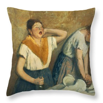 The Laundresses Throw Pillow by Edgar Degas
