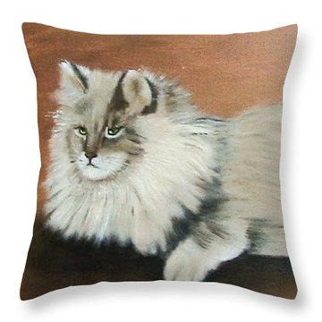 The Mane Cat Throw Pillow by Catherine Swerediuk
