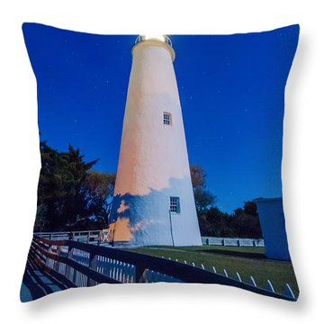 The Ocracoke Lighthouse On Ocracoke Island On The North Carolina Throw Pillow