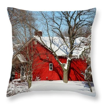 The Old Red House Throw Pillow by Heather Allen