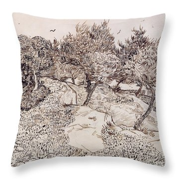 The Olive Trees Throw Pillow by Vincent Van Gogh