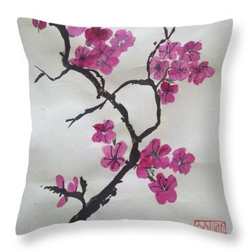 The Plum Blossom Throw Pillow