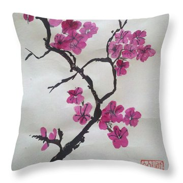 The Plum Blossom Throw Pillow