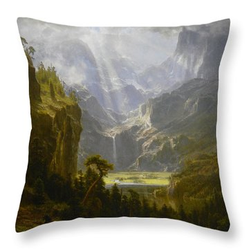 Throw Pillow featuring the painting The Rocky Mountains Lander's Peak by Celestial Images