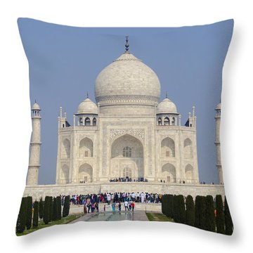 The Taj Mahal Throw Pillow by Pravine Chester