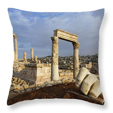 The Temple Of Hercules And Sculpture Of A Hand In The Citadel Amman Jordan Throw Pillow by Robert Preston