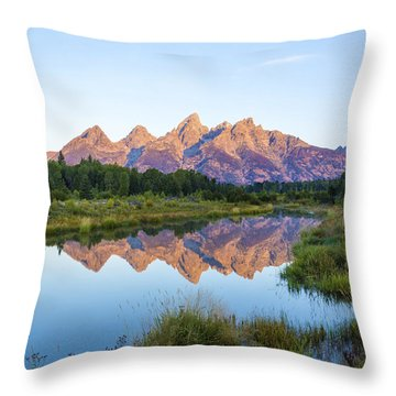 The Tetons Reflected On Schwabachers Landing - Grand Teton National Park Wyoming Throw Pillow by Brian Harig