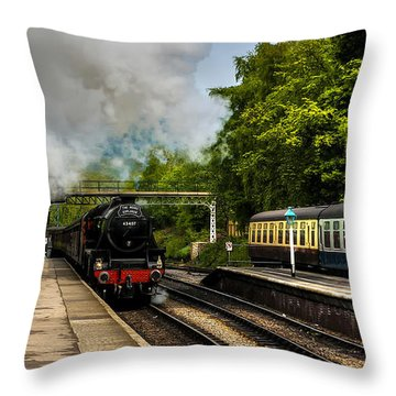 The Train Arriving Throw Pillow by Trevor Kersley