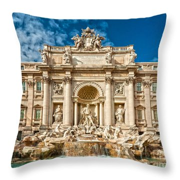 The Trevi Fountain - Rome Throw Pillow by Luciano Mortula