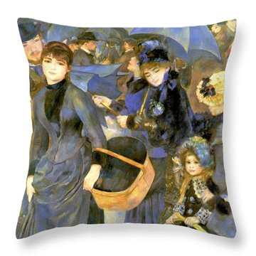 The Umbrellas Throw Pillow by Pierre Auguste Renoir