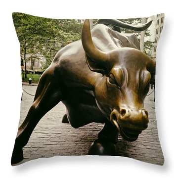 The Wall Street Bull Throw Pillow