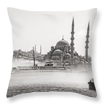 The Yeni Mosque In Fog Throw Pillow