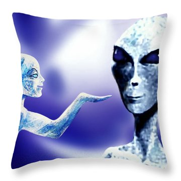 Throw Pillow featuring the painting Are There Aliens ? by Hartmut Jager