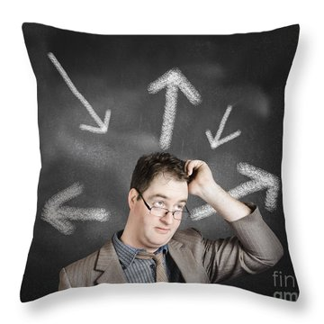 Thinking Businessman With A Choice Idea Throw Pillow